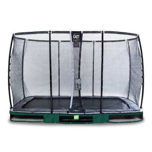 Trampoline enterré Exit Elegant Premium 244x427cm avec filet de sécurité Deluxe vert
