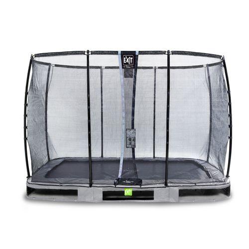 Trampoline enterré Exit Elegant Premium 214x366cm avec filet de sécurité Deluxe gris