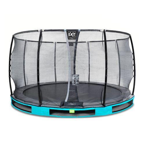 Trampoline enterré Exit Elegant Premium ø366cm avec filet de sécurité Deluxe bleu