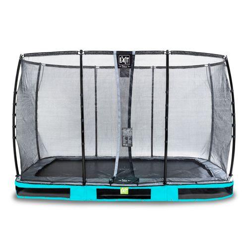 Trampoline enterré Exit Elegant Premium 244x427cm avec filet de sécurité Deluxe bleu