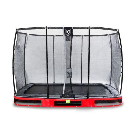 Trampoline enterré Exit Elegant Premium 214x366cm avec filet de sécurité Deluxe rouge