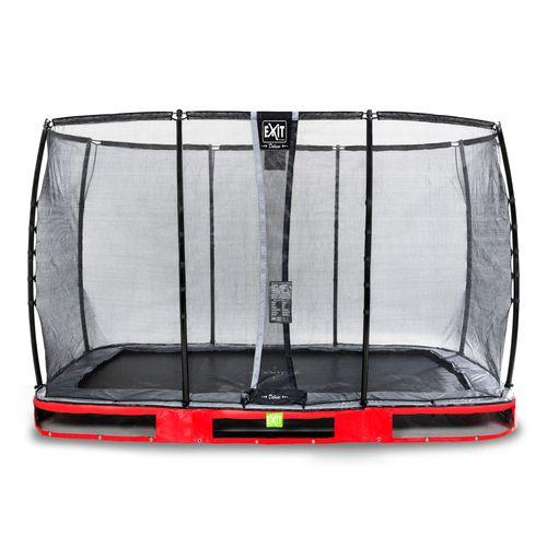 Trampoline enterré Exit Elegant Premium 244x427cm avec filet de sécurité Deluxe rouge