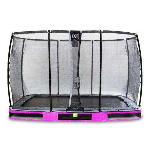Trampoline enterré Exit Elegant Premium 244x427cm avec filet de sécurité Deluxe violet