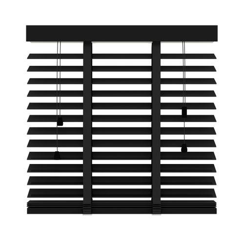 Decosol jaloezie horizontaal hout matzwart 50mm 100x130cm