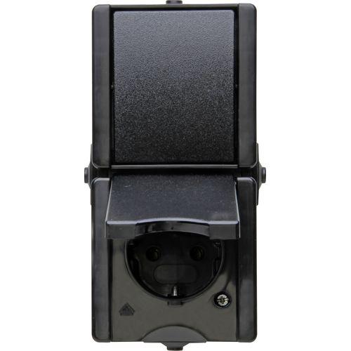 Kopp ProAQA set wisselschakelaar + geaarde stekker IP44 zwart