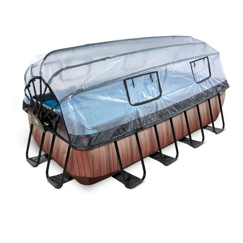EXIT Wood opzetzwembad met overkapping en zandfilter- en warmtepomp bruin 400x200x100cm