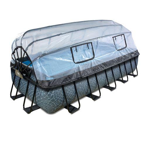 EXIT Stone opzetzwembad met overkapping en zandfilter- en warmtepomp grijs 540x250x100cm