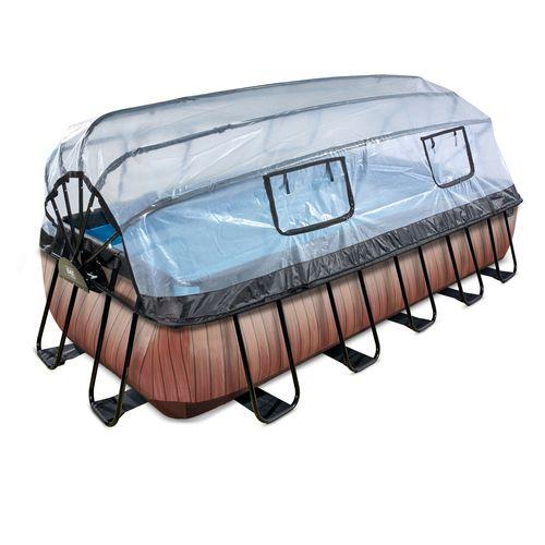 EXIT Wood opzetzwembad met overkapping en zandfilter- en warmtepomp bruin 540x250x100cm