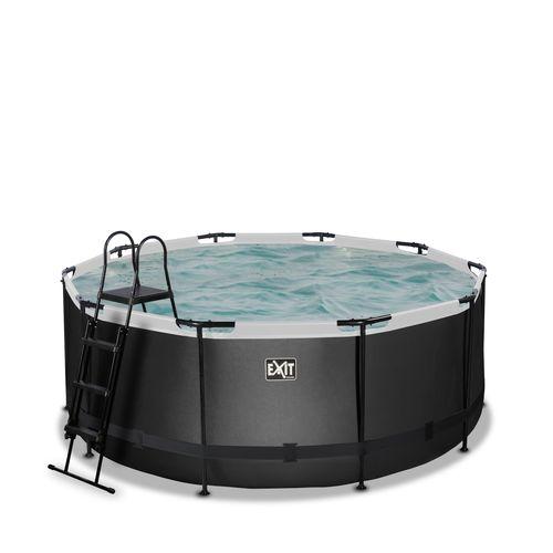 EXIT Black Leather opzetzwembad met filterpomp zwart ø360x122cm