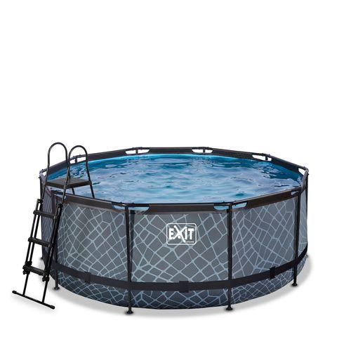 EXIT Stone opzetzwembad met zandfilterpomp grijs Ø360x122cm