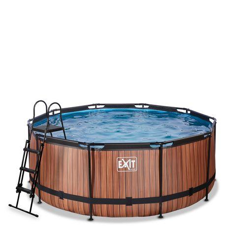 EXIT Wood opzetzwembad met zandfilterpomp bruin Ø360x122cm