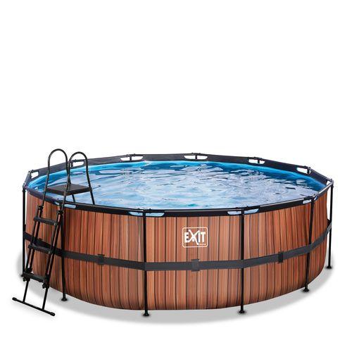 EXIT Wood opzetzwembad met zandfilterpomp bruin Ø427x122cm