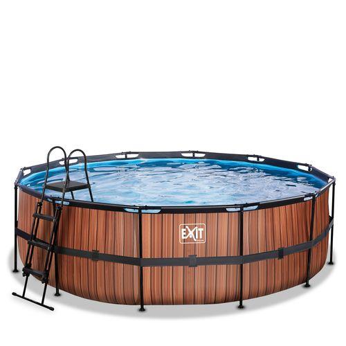 EXIT Wood opzetzwembad met zandfilterpomp bruin Ø450x122cm