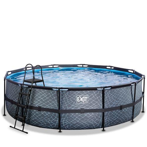 EXIT Stone opzetzwembad met filterpomp grijs ø488x122cm