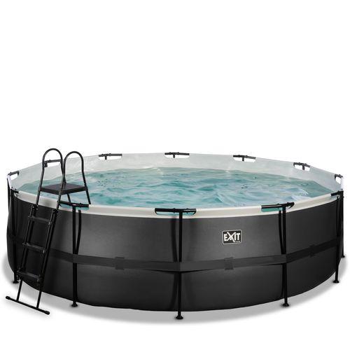 EXIT Black Leather opzetzwembad met filterpomp zwart Ø488x122cm