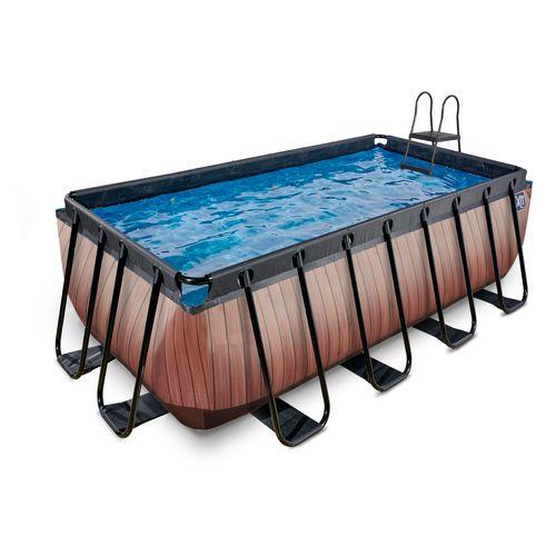 EXIT Wood opzetzwembad met zandfilterpomp bruin 400x200x122cm