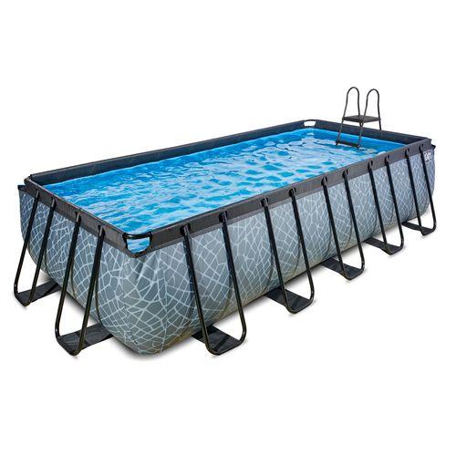 EXIT Stone opzetzwembad met filterpomp grijs 540x250x122cm