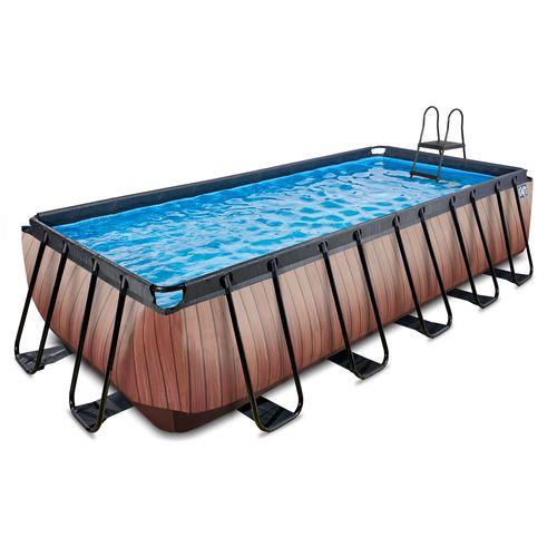 EXIT Wood opzetzwembad met filterpomp bruin 540x250x122cm