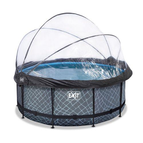 EXIT Stone opzetzwembad met overkapping en zandfilterpomp grijs Ø360x122cm