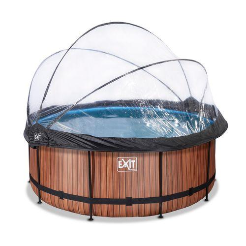 EXIT Wood opzetzwembad met overkapping en zandfilterpomp bruin Ø360x122cm