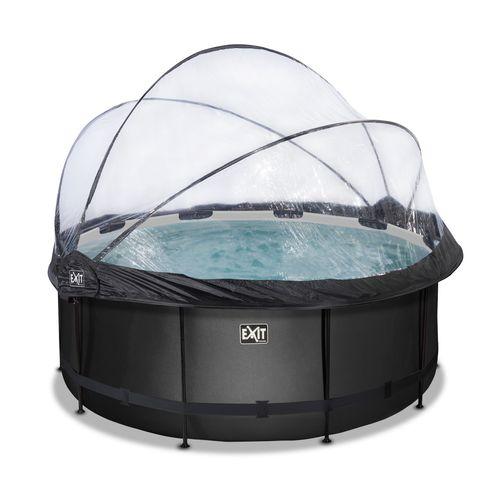 EXIT Black Leather opzetzwembad met overkapping en zandfilterpomp zwart ø360x122cm