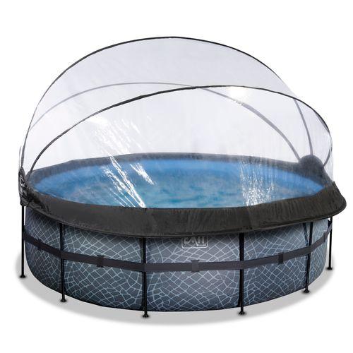 EXIT Stone opzetzwembad met overkapping en zandfilterpomp grijs Ø427x122cm