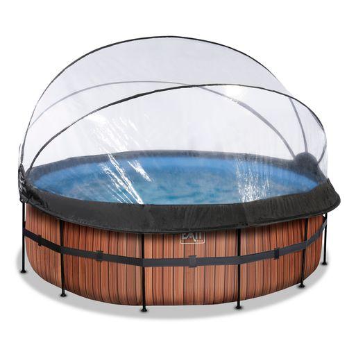 EXIT Wood opzetzwembad met overkapping en zandfilterpomp bruin Ø427x122cm