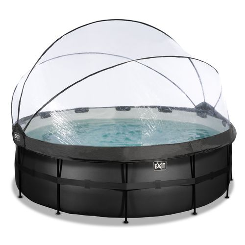 EXIT Black Leather opzetzwembad met overkapping en zandfilterpomp zwart Ø427x122cm