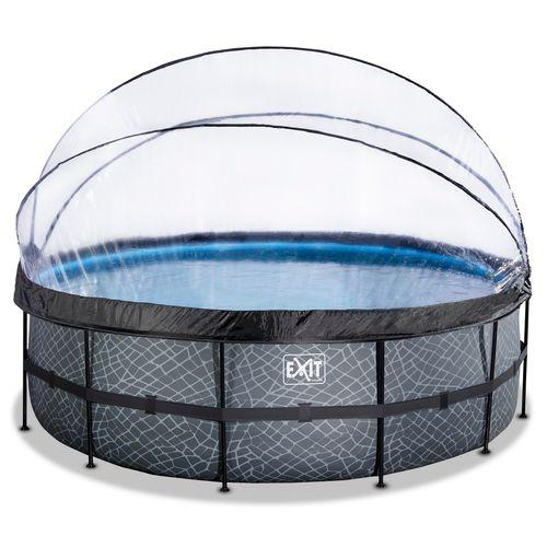 EXIT Stone opzetzwembad met overkapping en zandfilterpomp grijs Ø450x122cm