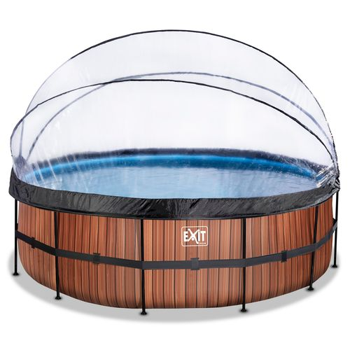 EXIT Wood opzetzwembad met overkapping en zandfilterpomp bruin Ø450x122cm