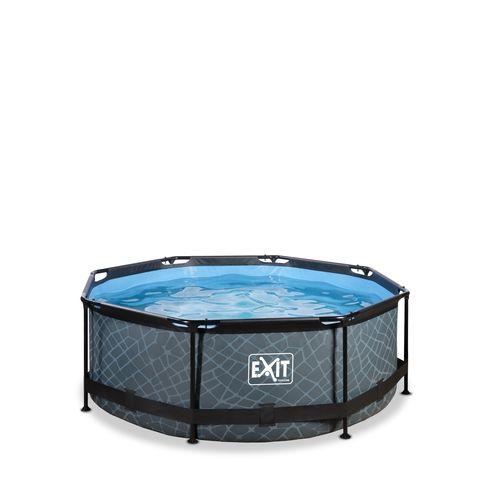EXIT Stone opzetzwembad met filterpomp grijs Ø244x76cm