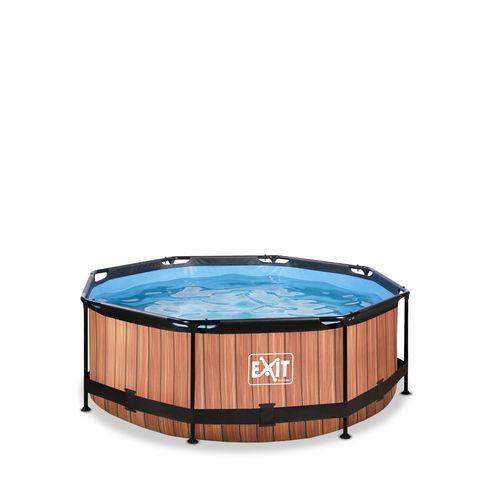 EXIT Wood opzetzwembad met filterpomp bruin Ø244x76cm