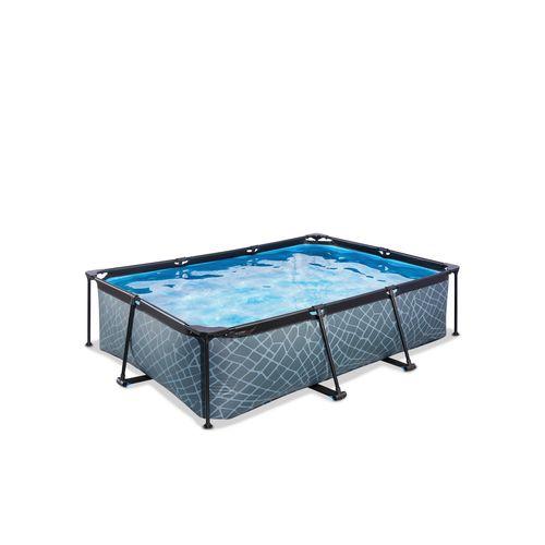 EXIT Stone opzetzwembad met filterpomp grijs 220x150x65cm
