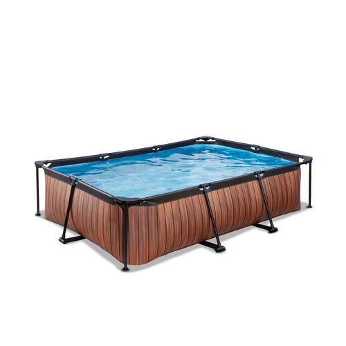 Piscine tubulaire + pompe filtrante EXIT Wood marron 300x200x65cm