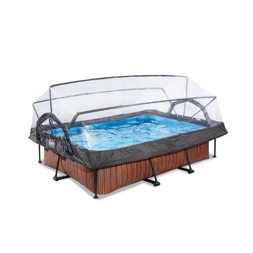 EXIT Wood opzetzwembad met overkapping en filterpomp bruin 220x150x65cm