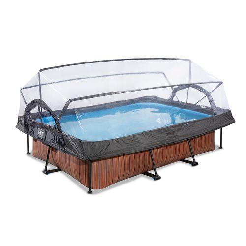 EXIT Wood opzetzwembad met overkapping en filterpomp bruin 300x200x65cm