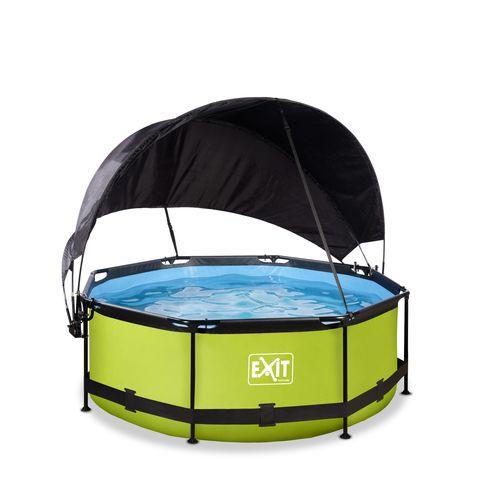 EXIT Lime opzetzwembad met schaduwdoek en filterpomp groen Ø244x76cm