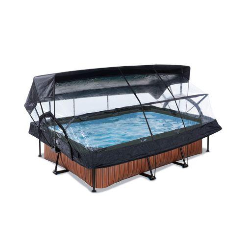 EXIT Wood opzetzwembad met overkapping, schaduwdoek en filterpomp bruin 220x150x65cm