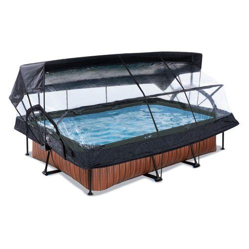 EXIT Wood opzetzwembad met overkapping, schaduwdoek en filterpomp bruin 300x200x65cm