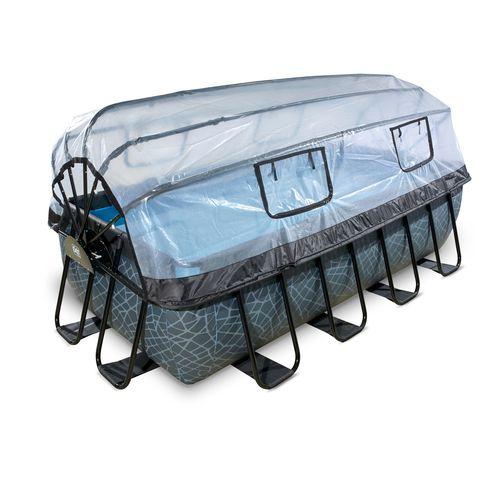 EXIT Stone opzetzwembad met overkapping en zandfilter- en warmtepomp grijs 400x200x100cm