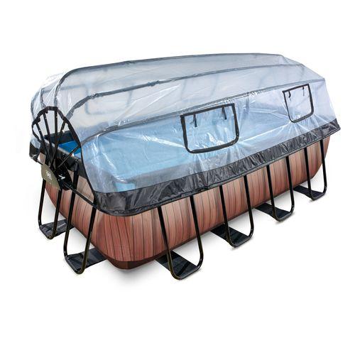 EXIT Wood opzetzwembad met overkapping en zandfilterpomp bruin 400x200x122cm