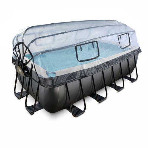 EXIT Black Leather opzetzwembad met overkapping en zandfilterpomp zwart 400x200x122cm