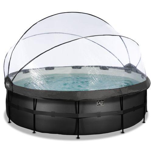 EXIT Black Leather opzetzwembad met overkapping en zandfilter- en warmtepomp zwart Ø450x122cm