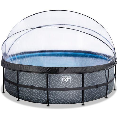EXIT Stone opzetzwembad met overkapping en zandfilter- en warmtepomp grijs Ø488x122cm