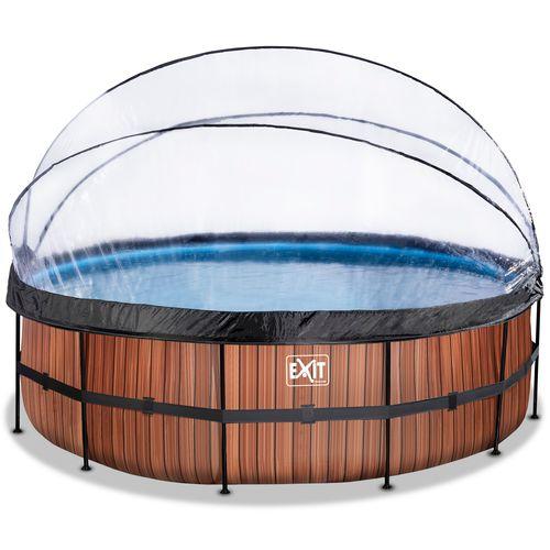 EXIT Wood opzetzwembad met overkapping en zandfilter- en warmtepomp bruin Ø488x122cm