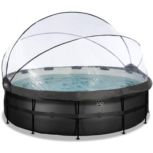 EXIT Black Leather opzetzwembad met overkapping en zandfilter- en warmtepomp zwart Ø488x122cm