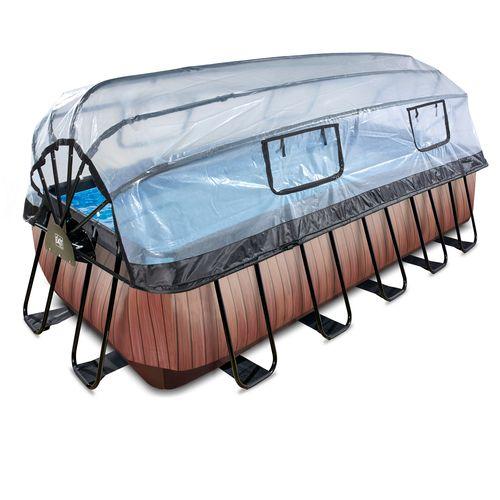 EXIT Wood opzetzwembad met overkapping en zandfilter- en warmtepomp bruin 540x250x122cm
