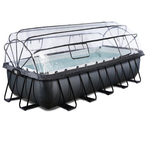 EXIT Black Leather opzetzwembad met overkapping zwart 540x250x122cm