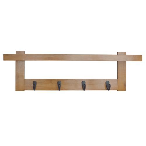 Yaka bamboe en metalen kapstok met 5 haken 56x12x18cm naturel/zwart