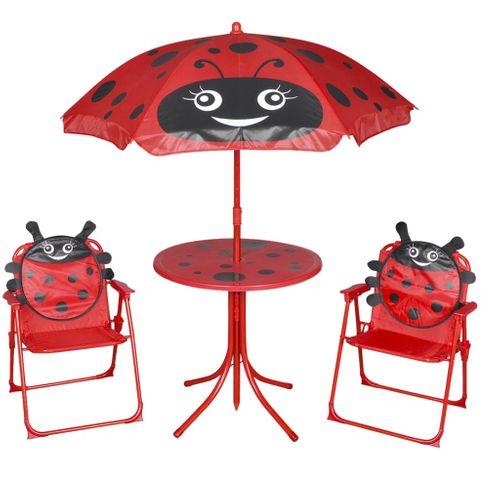 VidaXL kinder tuinset met lieveheersbeestjes parasol